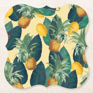 Porta-copo De Papel amarelo dos limões dos abacaxis