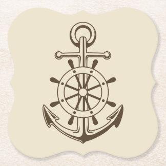 Porta-copo De Papel Âncora do barco do vintage & roda náuticas Tan do