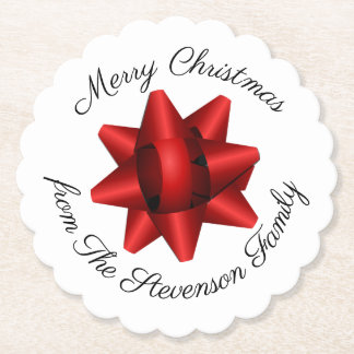 Porta-copo De Papel Arco vermelho realístico do Natal personalizado
