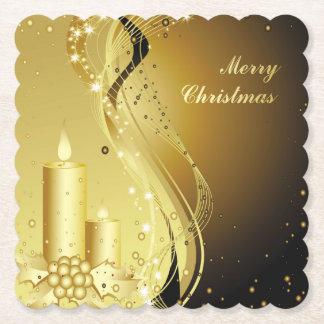 Porta-copo De Papel Azevinho do Natal da vela no fundo Sparkling