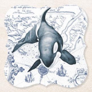 Porta-copo De Papel Azul do mapa da orca