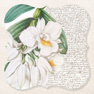 Porta-copo De Papel Caligrafia branca das orquídeas