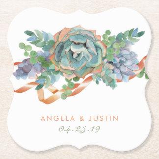 Porta-copo De Papel Casamento do conjunto do Succulent da aguarela