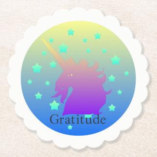 """Porta-copo De Papel De """"unicórnio Ombre com os Coasters. da gratitude"""