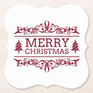 Porta-copo De Papel Feliz Natal branco e vermelho