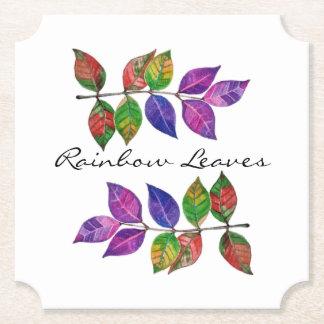Porta-copo De Papel Folhas do arco-íris da aguarela