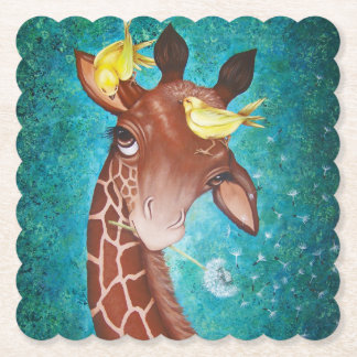 Porta-copo De Papel Girafa bonito com pássaros