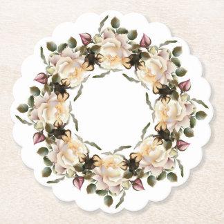 Porta-copo De Papel Grinalda do rosa branco Scalloped em volta da