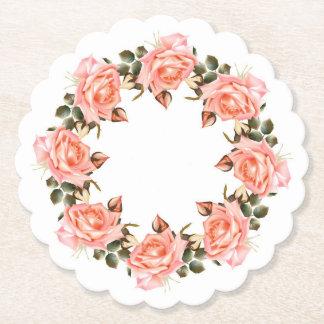Porta-copo De Papel Grinalda do rosa do rosa Scalloped em volta da