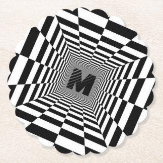 Porta-copo De Papel Ilusão, monograma ou inicial visual preta & branca