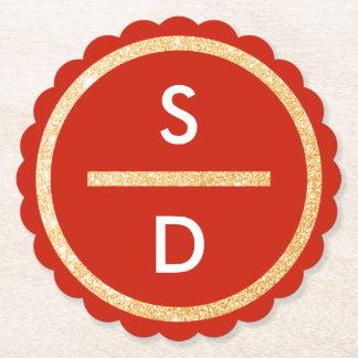 Porta-copo De Papel Monograma vertical do círculo do brilho do ouro do