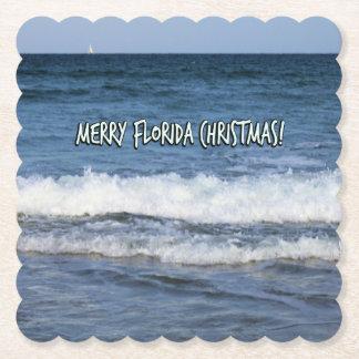 Porta-copo De Papel Natal alegre de Florida sobre o oceano