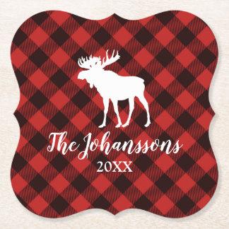 Porta-copo De Papel Natal vermelho e preto dos alces e do búfalo da