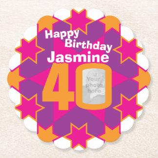 Porta-copo De Papel Nome do feliz aniversario 40th e portas copos de