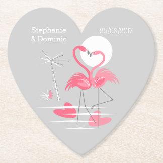Porta-copo De Papel O amor do flamingo nomeia o coração da porta copos