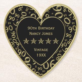 Porta-copo De Papel ouro da festa de aniversário do 90/tema preto