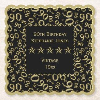 Porta-copo De Papel ouro da festa de aniversário do 90/tema preto do