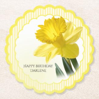 Porta-copo De Papel Personalize:  Daffodil floral do amarelo da