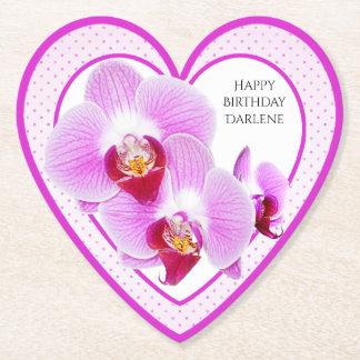 Porta-copo De Papel Personalize:  Orquídea floral do roxo da