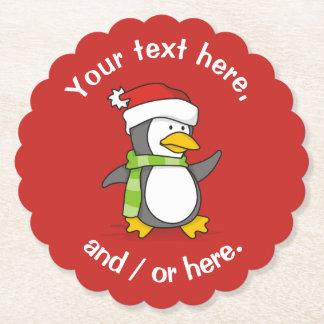 Porta-copo De Papel Pinguim do Natal que anda na neve