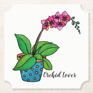 Porta-copo De Papel Planta da orquídea da aguarela no pote bonito