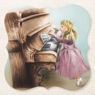 Porta-copo De Papel Porta copos dada forma menina do piano, arte
