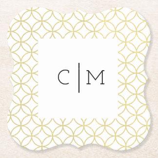Porta-copo De Papel Porta copos geométrica do casamento do monograma