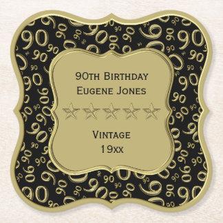 Porta-copo De Papel preto da festa de aniversário do 90 e tema do ouro