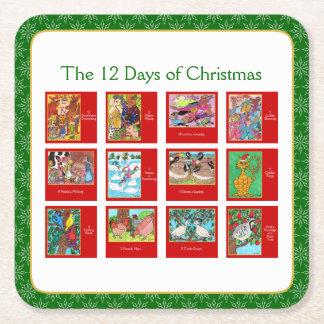 Porta-copo De Papel Quadrado 12 dias da mistura variada animal bonito do Natal