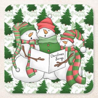 Porta-copo De Papel Quadrado 3 Carolers do boneco de neve