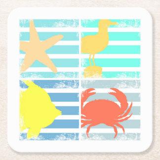 Porta-copo De Papel Quadrado 4 quadrados do design do oceano