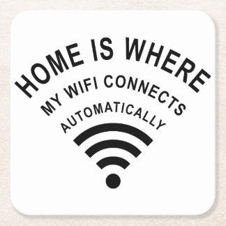 Porta-copo De Papel Quadrado A casa é o lugar onde meu wifi conecta