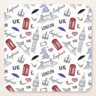 Porta-copo De Papel Quadrado A cidade de Londres Doodles o teste padrão