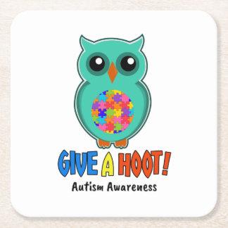 Porta-copo De Papel Quadrado A consciência do autismo dá a uma coruja de buzina