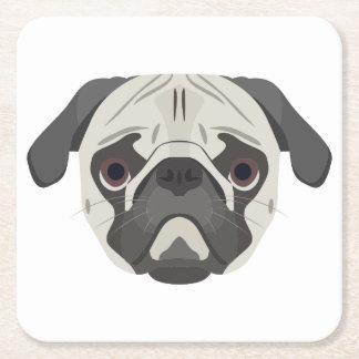 Porta-copo De Papel Quadrado A ilustração persegue o Pug da cara