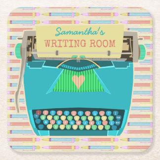 Porta-copo De Papel Quadrado A sala retro da escrita da máquina de escrever é o