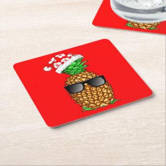 Porta-copo De Papel Quadrado Abacaxi de Papai Noel