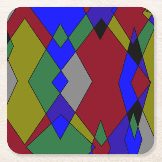 Porta-copo De Papel Quadrado Abstrato colorido retro do diamante