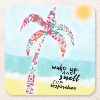 Porta-copo De Papel Quadrado acorde e cheire a inspiração, a praia e a palma