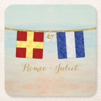 Porta-copo De Papel Quadrado Aguarela marítima das bandeiras de sinal do
