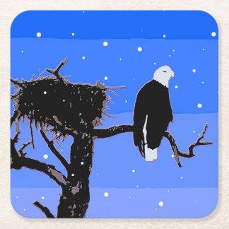 Porta-copo De Papel Quadrado Águia americana no inverno
