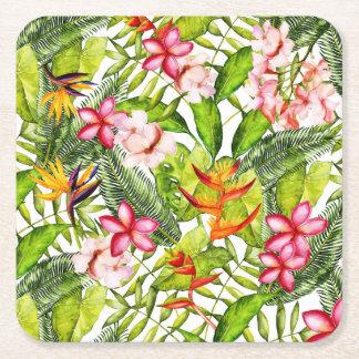 Porta-copo De Papel Quadrado Aloha flores exóticas tropicais da selva
