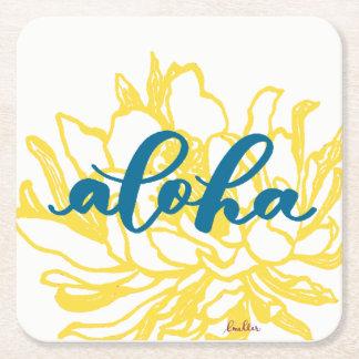 Porta-copo De Papel Quadrado Aloha o círio de turquesa floresce portas copos