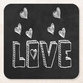Porta-copo De Papel Quadrado Amor preto & branco do quadro dos corações -