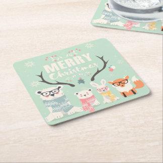 Porta-copo De Papel Quadrado Animais rústicos bonitos da floresta do Feliz