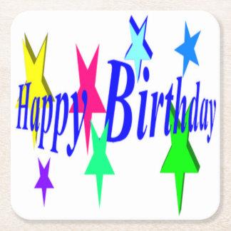Porta-copo De Papel Quadrado Aniversário colorido