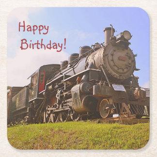 Porta-copo De Papel Quadrado Aniversário do trem do vapor do vintage