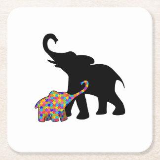 Porta-copo De Papel Quadrado Apoio da consciência do autismo do elefante