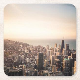 Porta-copo De Papel Quadrado Arquitectura da cidade de Chicago