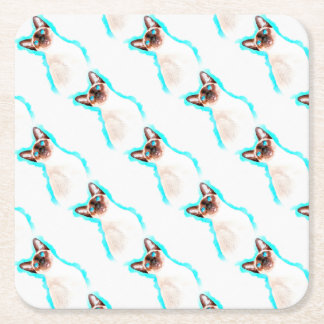 Porta-copo De Papel Quadrado Arte da aguarela do gato Siamese